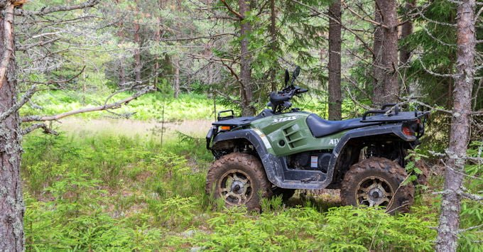 ATV parked in the woods