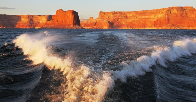 Wake from a speedboat on an Arizona lake